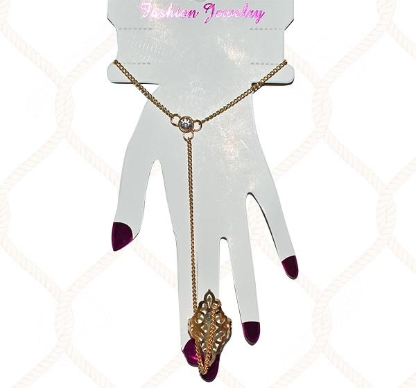Golden Slave Bracelet White Stone With Attached Ring For Girls - Hiffey
