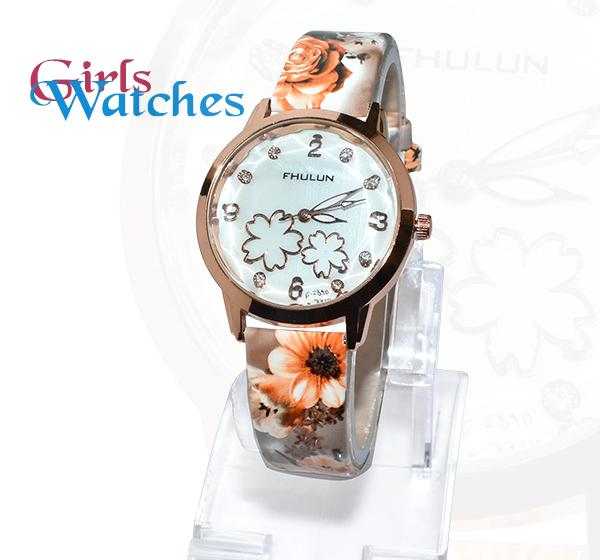 Flower Printed Multicolor Fashion Watch for Girls -A349S - Hiffey