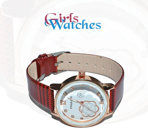 Maroon with White Flower Printed Dial Watch for Girls - A3884 - Hiffey