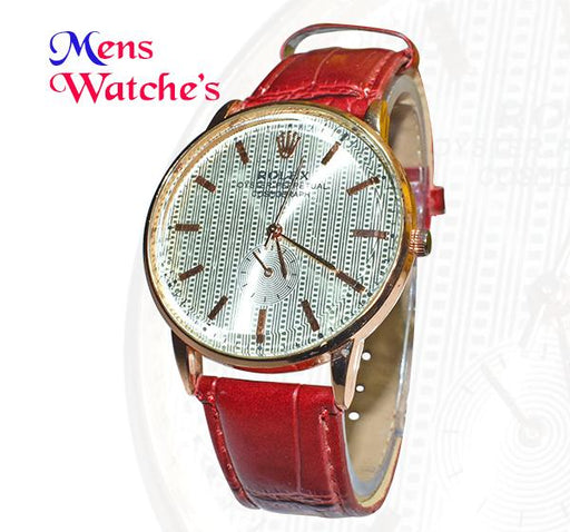 Men's Analogue Round Dial with Maroon Belt Watch - Hiffey