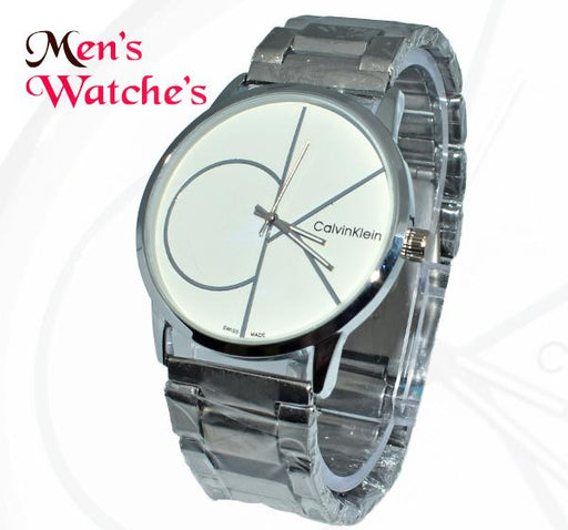 CK White Big Dial Chain Straps Watch for Men - Hiffey