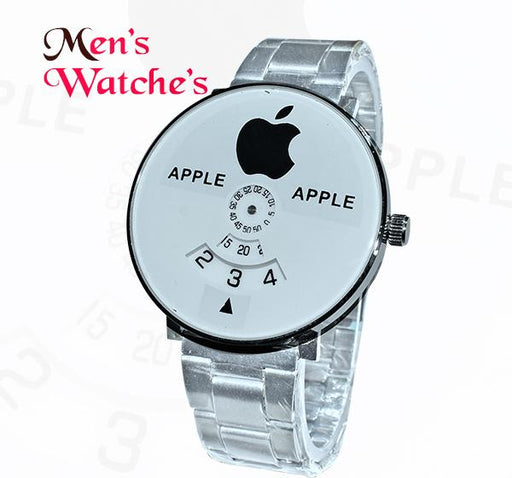 Apple Icon White Big Dial Chain Straps Watch for Men - Hiffey