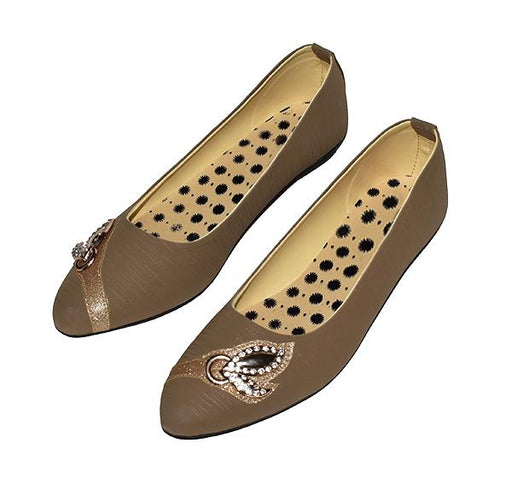 Fancy Pearls Beige Ladies Pumps - Hiffey