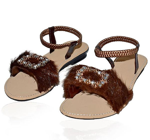 Stylish Fur Brown Sandals For Ladies - Hiffey