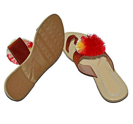 Flower Fur Ladies Chappal - Hiffey