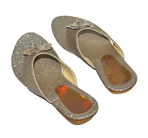 LADIES SPARKLY GLITTER FLOWER BUNCH CHAPPAL - Hiffey