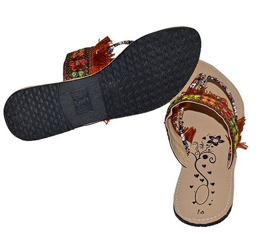 LADIES FLOWER EMBROIDERY DESIGN CHAPPAL - Hiffey