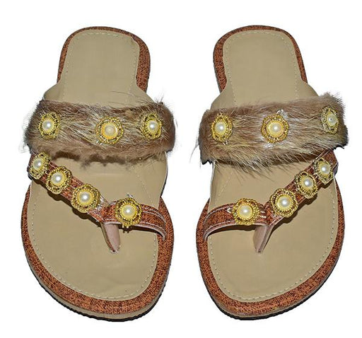 Fancy Pearls With Fur Chappal For Ladies - Hiffey