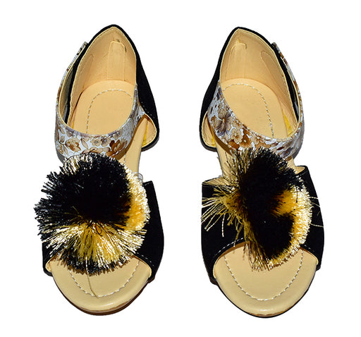 Velvet Black And Yellow Fur Style Sandal For Ladies - Hiffey