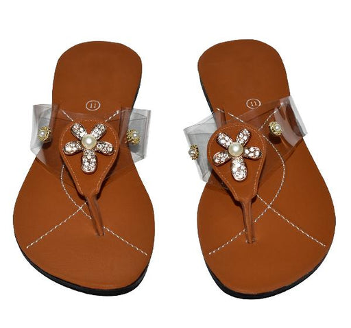 Brown Transparent Pearls Flower Bunch Slipper For Ladies - Hiffey