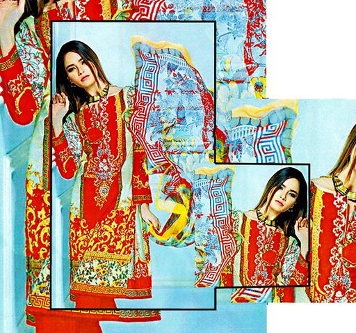 3 Piece Embroidery Lawn Dupatta Collection - Red - Hiffey