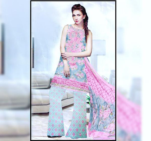 Front Embroidery Chiffon Dupatta Collection - Pink - Hiffey
