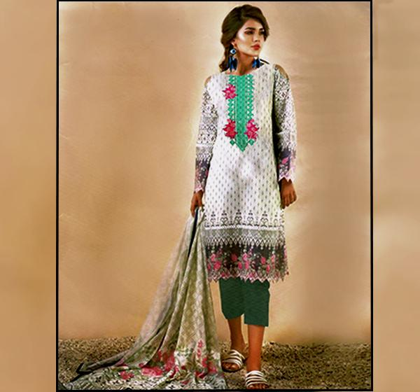 3 Piece Embroidery Chiffon Dupatta Collection-BC183B - Hiffey