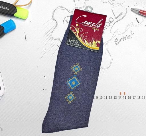 Blue Design Comely Men Cotton Socks - Light Purple - Hiffey