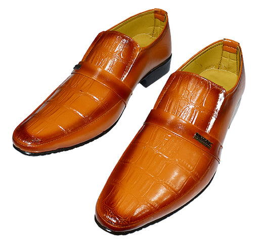 Trendy Shiny Shoes For Men's - Camel Brown