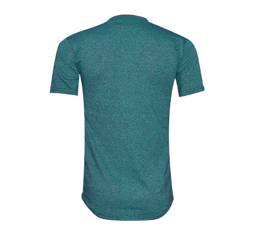 Zip Style Slim Fit V Neck-Shirt For Men - Sea Blue - Hiffey