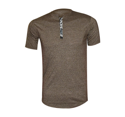Zip Style Slim Fit V Neck-Shirt For Men - Olive Green - Hiffey
