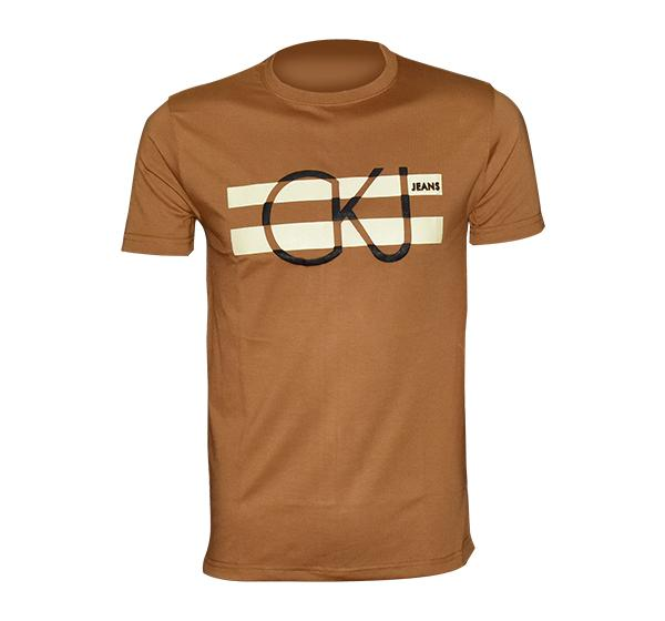 Slim Fit CK-Jeans Printed O Neck T-Shirt For Men - Brown - Hiffey