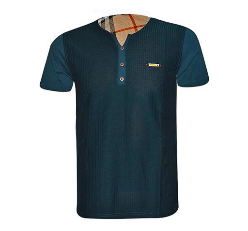 Check Pattern T-Shirt V Neck Design For Men - Sea Green