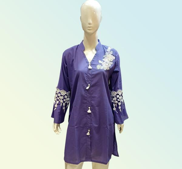 Cotton Front Flower Bunch Kurti - Purple - Hiffey