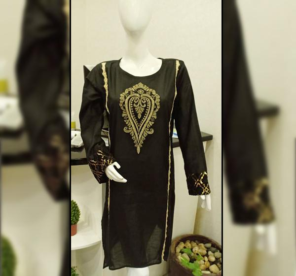 Cotton Fancy Kurti With Star Lace Long Sleeves - Black