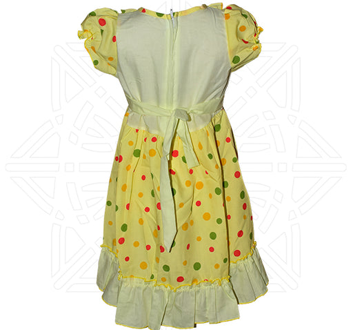 Rabbit Face With Big Polka Dots Printed Frock For Girls - Yellow - Hiffey