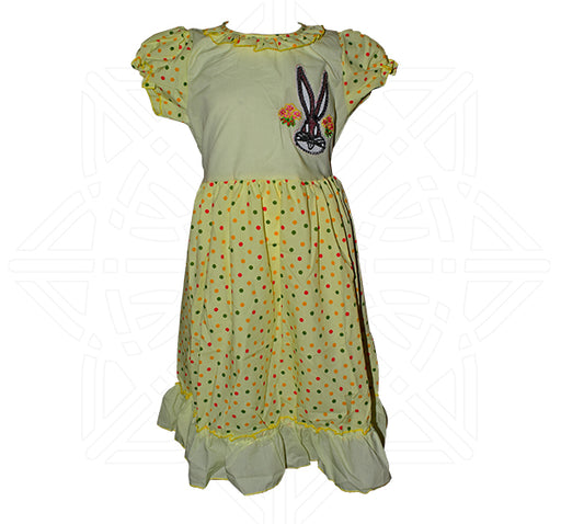 Rabbit Face Front Style frock For Girls - Yellow - Hiffey