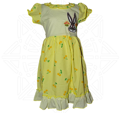 Rabbit Face With Yellow Cherry Printed Frock For Girls - Yellow - Hiffey