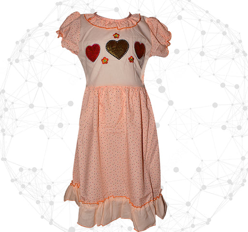 Red With Golden Heart Printed Style Mini Dots Frock For Girls - Peach - Hiffey