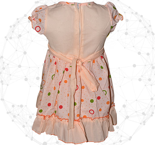 Golden With Silver Star Heart Frock For Girls - Peach - Hiffey