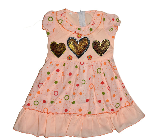 Multi Circle Printed Golden Star Heart Frock For Girls - Peach - Hiffey