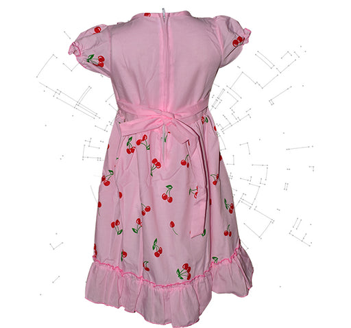 Embroidery With Red Cherry Printed Frock For Girls - Pink - Hiffey