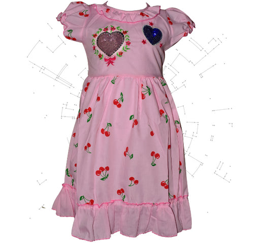 Colorful Two Heart With Red Cherry Printed Frock For Girls - Pink - Hiffey