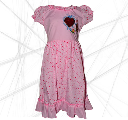 Star Heart Printed With Polka Maroon Dots Frock For Girls - Pink - Hiffey