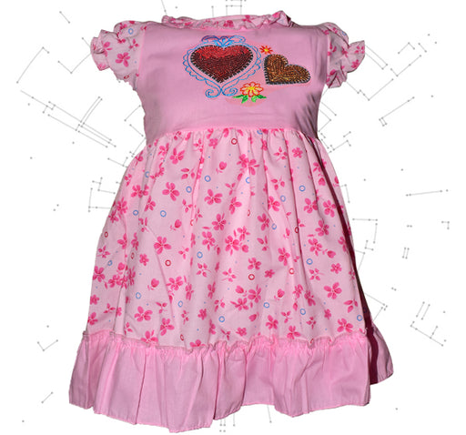 Star Heart With Printed Flower Frock For Girls - Pink - Hiffey