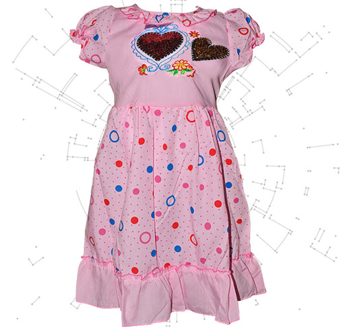 Multi Circle Printed Star Heart Frock For Girls - Pink - Hiffey