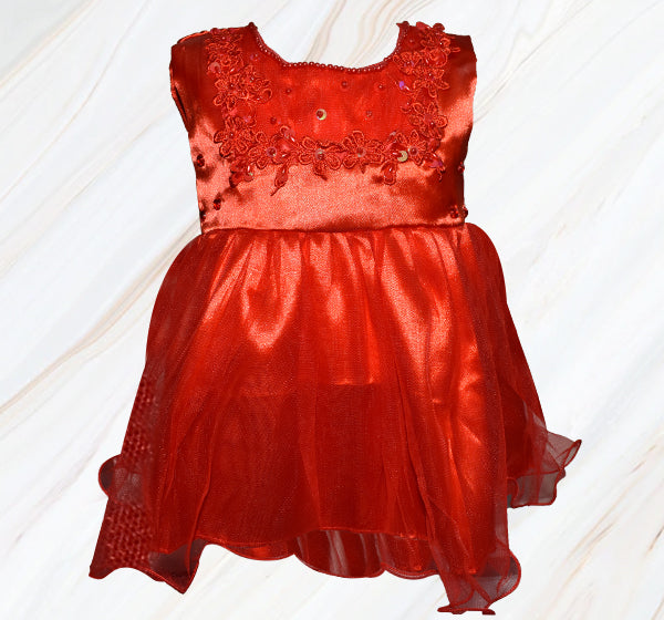 Fairy Frock Lace With Net Frill - Red - Hiffey