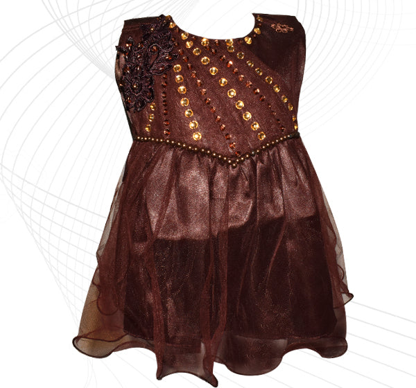 Fairy Frock Lace Bunch With Net Frill - Brown - Hiffey
