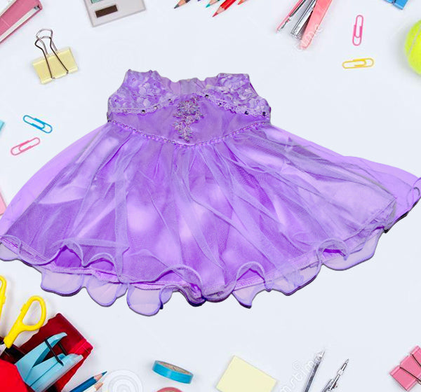 Fairy Frock Lace Bunch With Net Frill - Light Purple - Hiffey