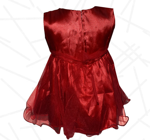 Fairy Frock Net Lace With Net Frill - Maroon - Hiffey