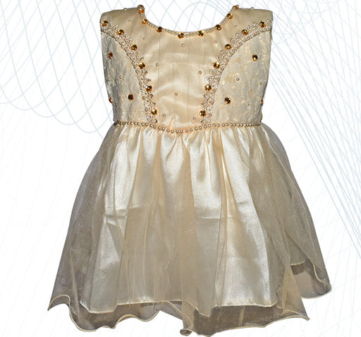 Fairy Frock Net Lace With Net Frill - Light Golden - Hiffey