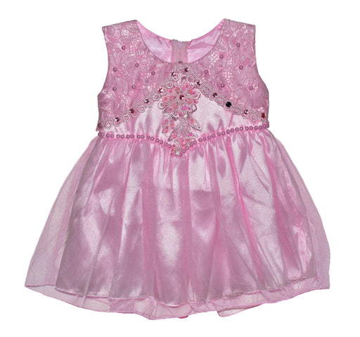 Fairy Pink Pearls Frock With Net Frill - Pink - Hiffey