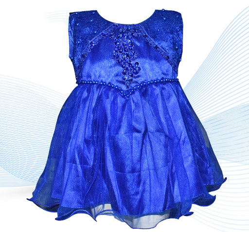 Fairy Royal Blue Pearls Frock With Net Frill - Royal Blue - Hiffey
