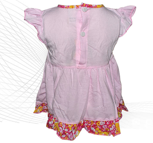 Pink Butterfly Flower Style Frock For Baby Girl - Hiffey