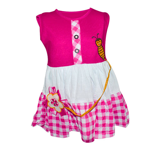 Bee Embroidery Frock For Baby Girl - Pink - Hiffey