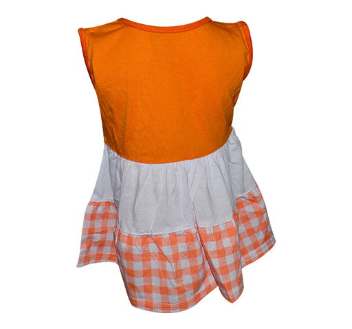 Bee Embroidery Frock For Baby Girl - Orange - Hiffey