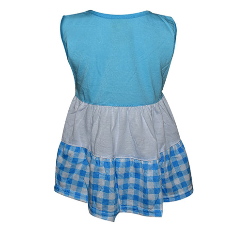 Bee Embroidery Frock For Baby Girl - Blue - Hiffey