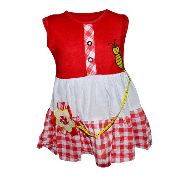 Bee Embroidery Frock For Baby Girl - Red - Hiffey