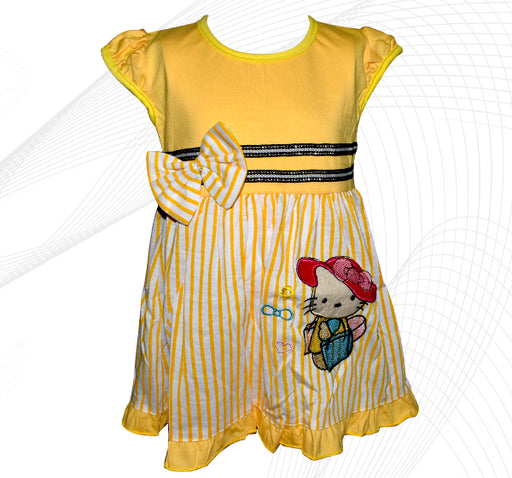 Hello Kitty Style Frock For Baby Girl - Yellow - Hiffey