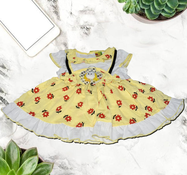 Doll Face Frock For Baby Girl - Yellow - Hiffey